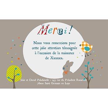 Carte de Remerciement Naissance Merveille beige personnalisé