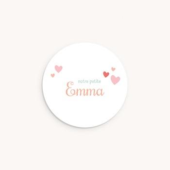 Sticker Enveloppe Naissance Couronne Fleurie, ø 4,5 cm personnalisé