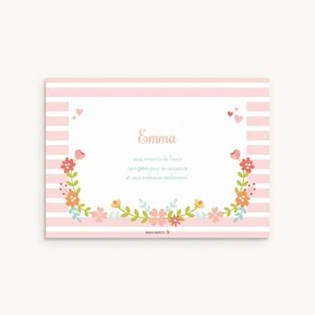 Carte de Remerciement Naissance Fleur