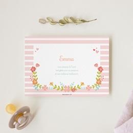 Carte de Remerciement Naissance Couronne Fleurie gratuit