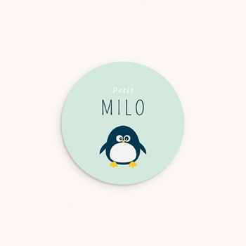 Sticker Enveloppe Naissance Famille Pingouins, ø 4,5 cm pas cher