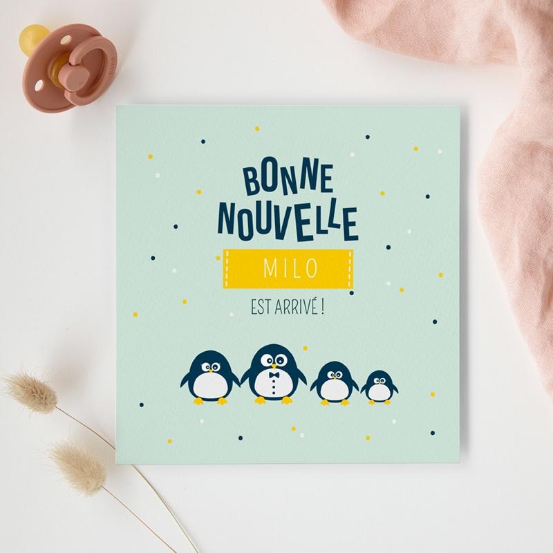 Faire-part de Naissance Famille Pingouins gratuit