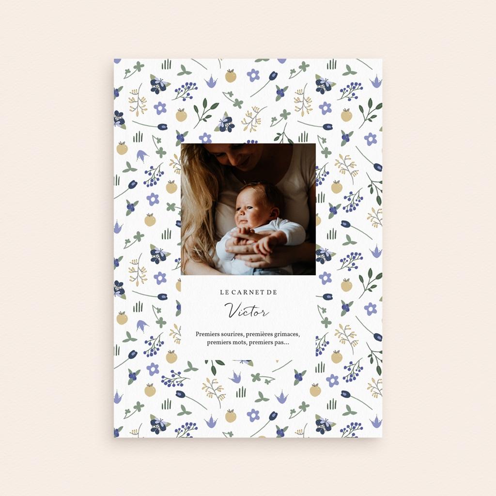 Carnet de Note Fleurs et trèfles bleus, Souple A5