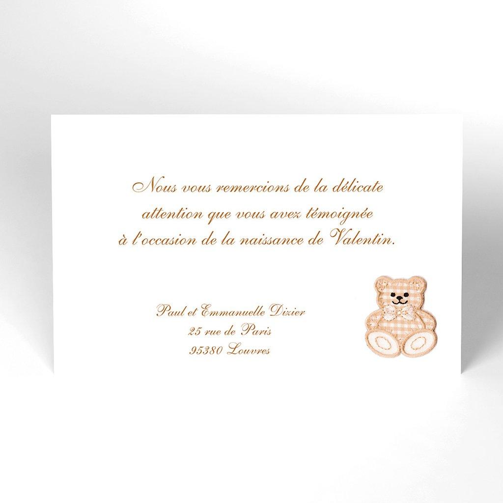 Carte de Remerciement Naissance Ecusson