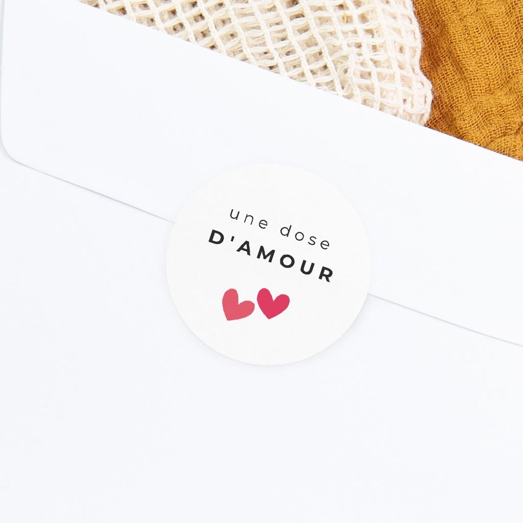 Sticker Enveloppe Naissance Dose d'amour, ø 4,5 cm gratuit
