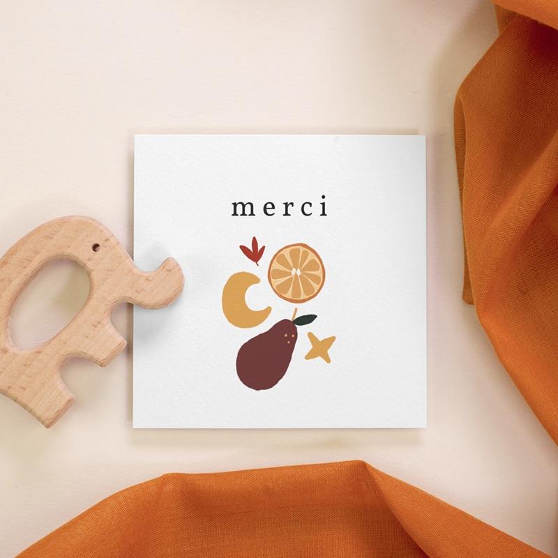 Carte de Remerciement Naissance Méli Mélo automnal, 10 x 10