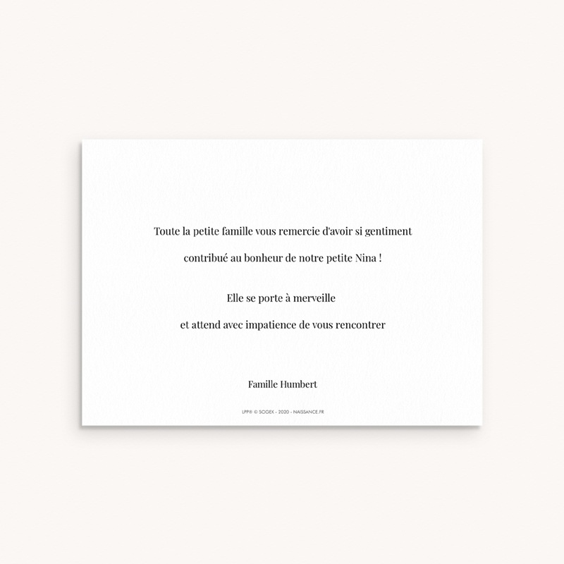 Carte de Remerciement Naissance Une rose unique au monde pas cher