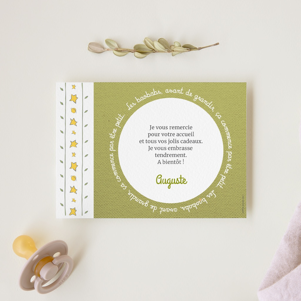 Carte de Remerciement Naissance Le baobab vert et photo gratuit