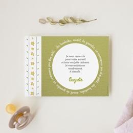 Carte de Remerciement Naissance Le baobab vert et photo