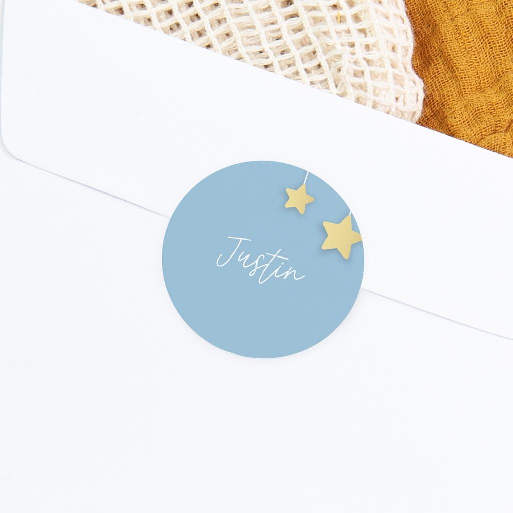 Sticker Enveloppe Naissance Lune et étoiles gratuit