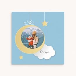 Carte de Remerciement Naissance Lune et étoiles