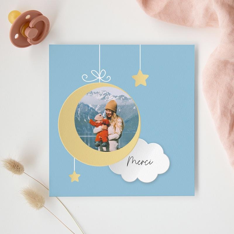 Carte de Remerciement Naissance Lune et étoiles gratuit