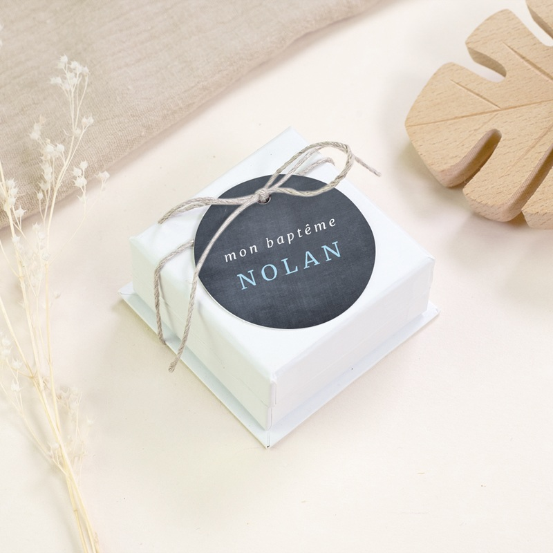Étiquettes Cadeau Baptême Ardoise Garçon gratuit