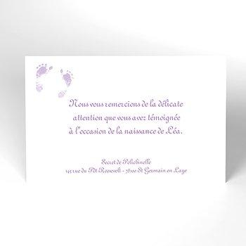 Carte de Remerciement Naissance Violine personnalisé