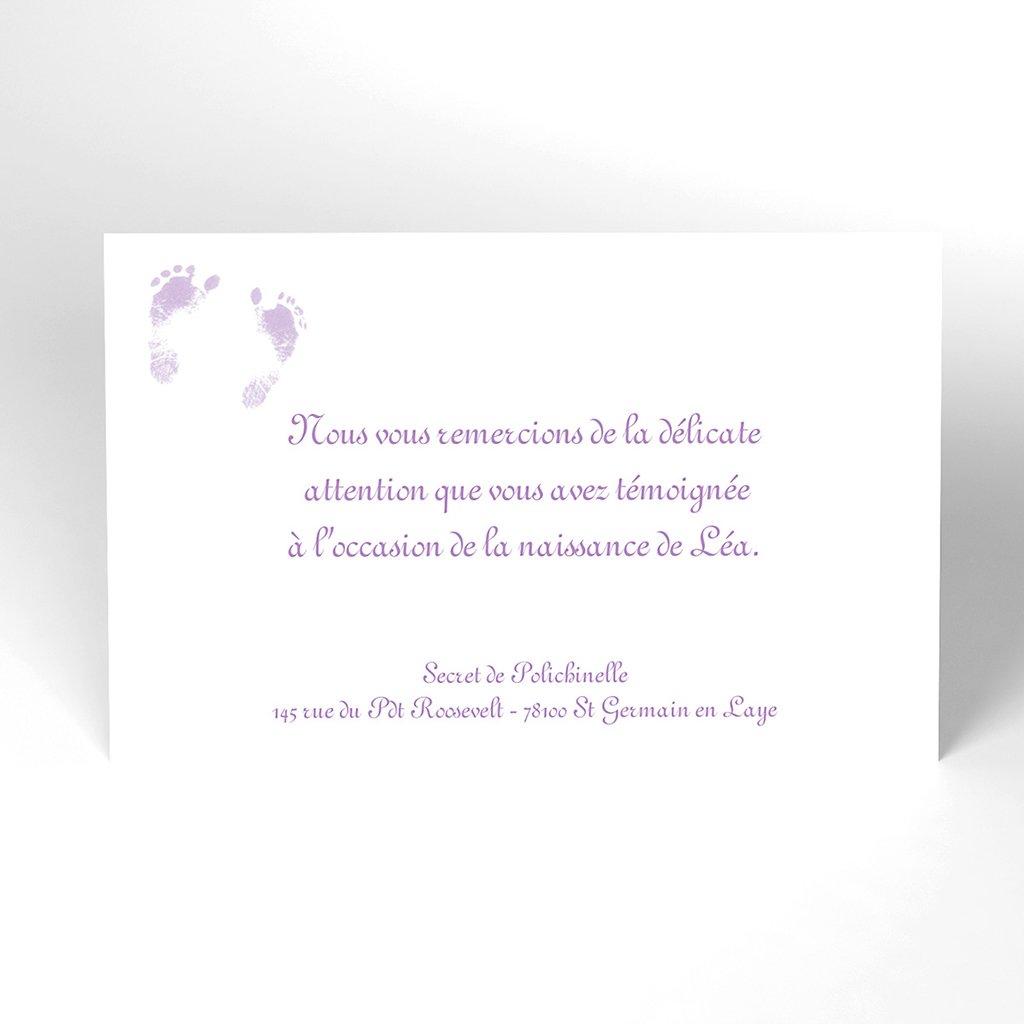 Carte de Remerciement Naissance Violine