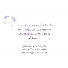 Carte de Remerciement Naissance Violine pas cher