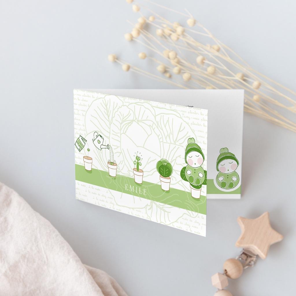 Faire-part de Naissance Chou-Fleur, double volets gratuit