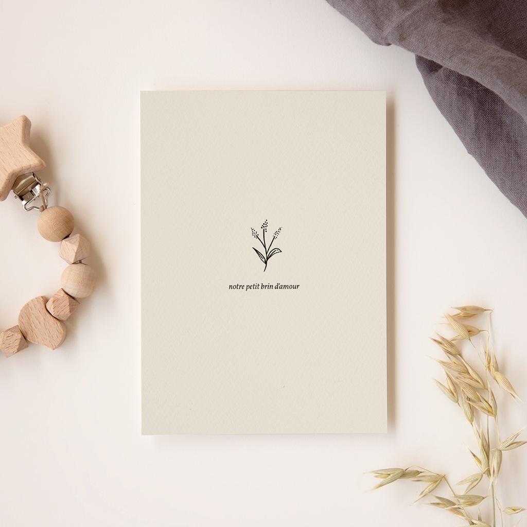 Faire-part de Naissance Garçon Brin Floral, Beige gratuit