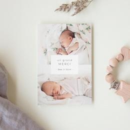 Carte de Remerciement Naissance Multiphotos Jumelles, 10 x 15 cm