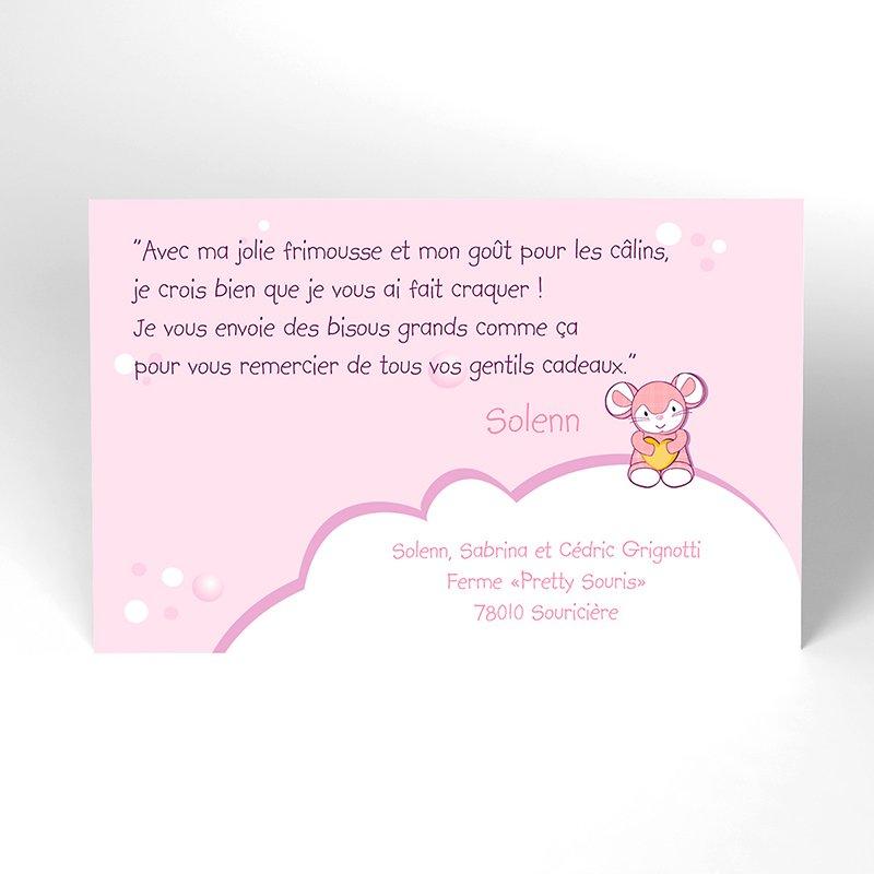 Carte de Remerciement Naissance Pretty Souris
