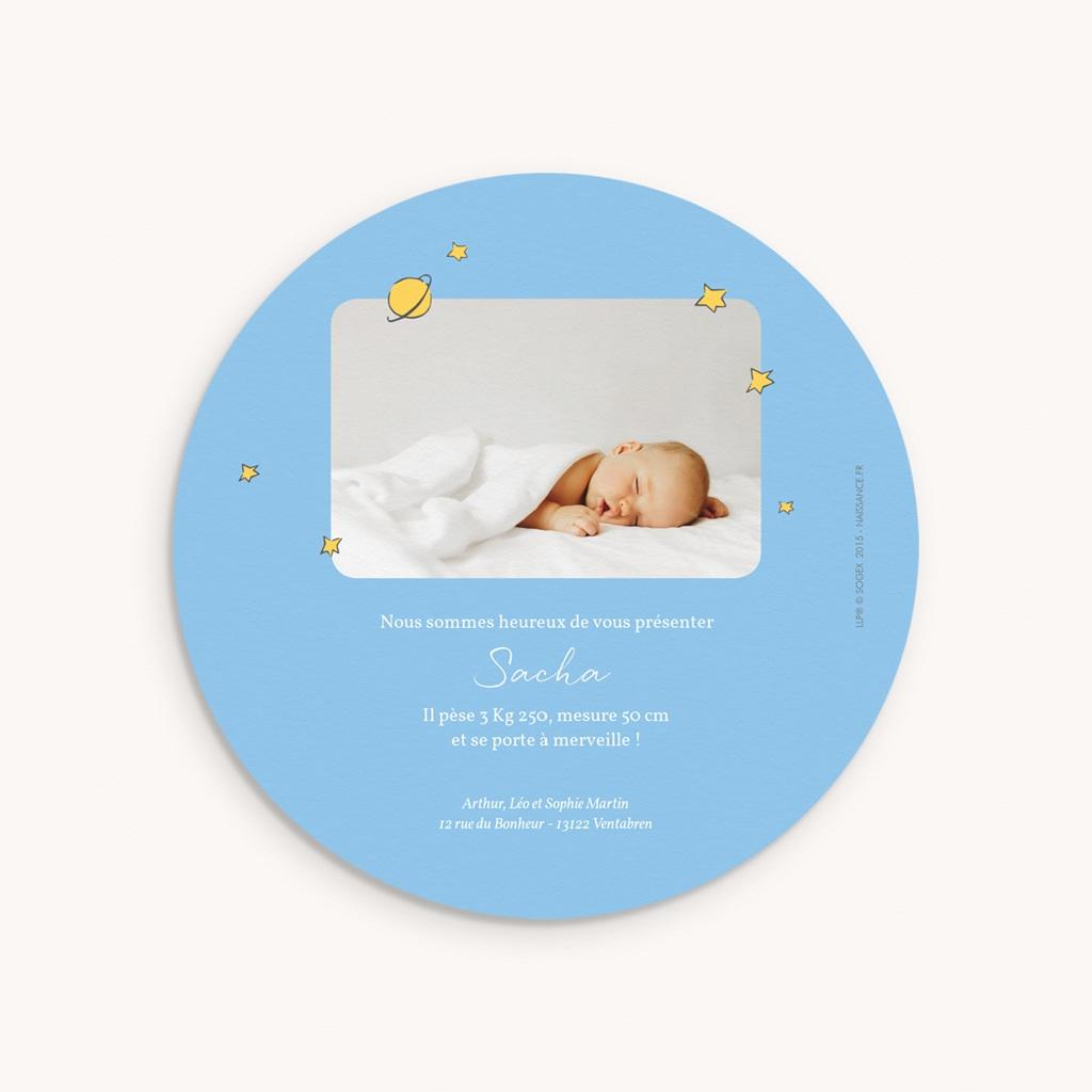Faire-part de Naissance Le Petit Prince La Planète bleue du Petit Prince, 14 x 14 cm pas cher