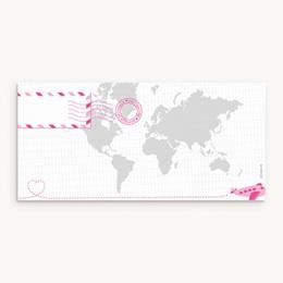 Faire-part de Naissance Billet d'Avion rose - Panoramique pas cher