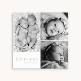 Faire-part de Naissance Multiphoto jumelles, Triptyque