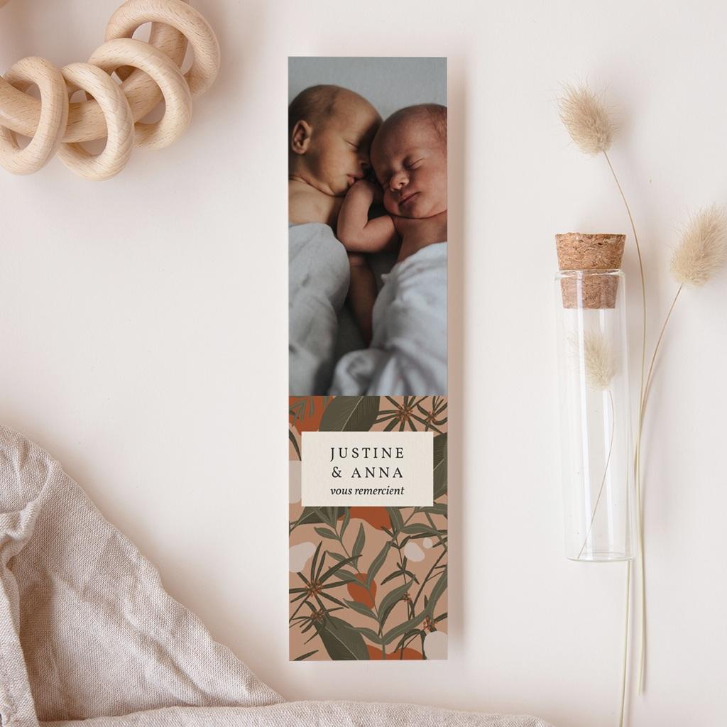 Carte de Remerciement Naissance Portrait tropical jumelles, marque page gratuit