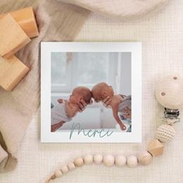 Carte de Remerciement Naissance Jumeaux Typo, Portrait gratuit