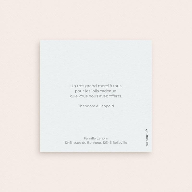 Carte de Remerciement Naissance Jumeaux Typo, Portrait