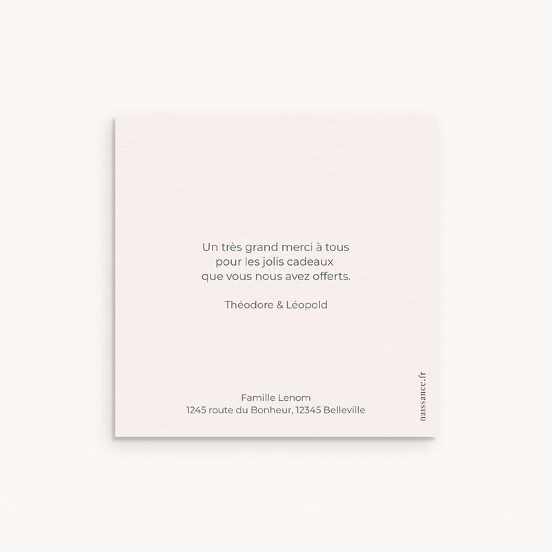 Carte de Remerciement Naissance Rose & typo Jumelles, 10 x 10 pas cher