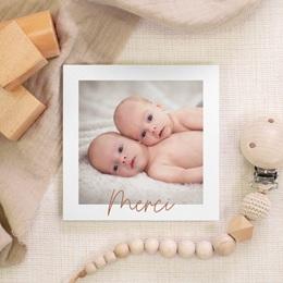 Carte de Remerciement Naissance Rose & typo Jumelles, 10 x 10 gratuit
