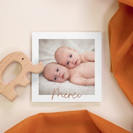 Carte de Remerciement Naissance Rose & typo Jumelles, 10 x 10