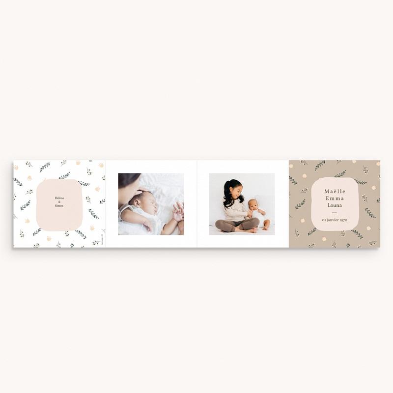 Faire-part de Naissance Liberty beige, triplettes, Accordéon gratuit
