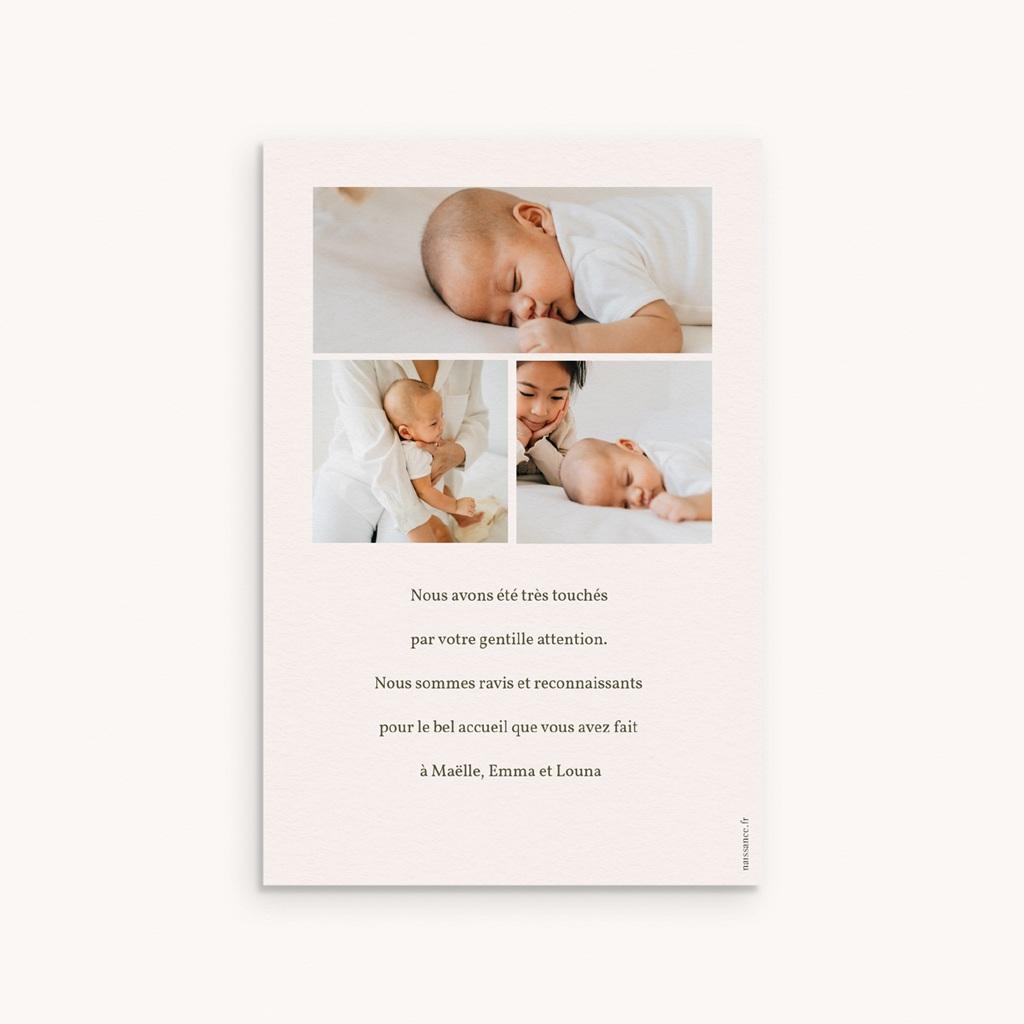 Carte de Remerciement Naissance Liberty beige, triplettes, 3 photo pas cher