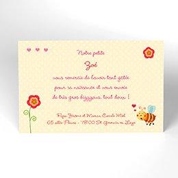 Carte de Remerciement Naissance Honey rose