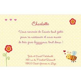 Carte de Remerciement Naissance Honey rose pas cher