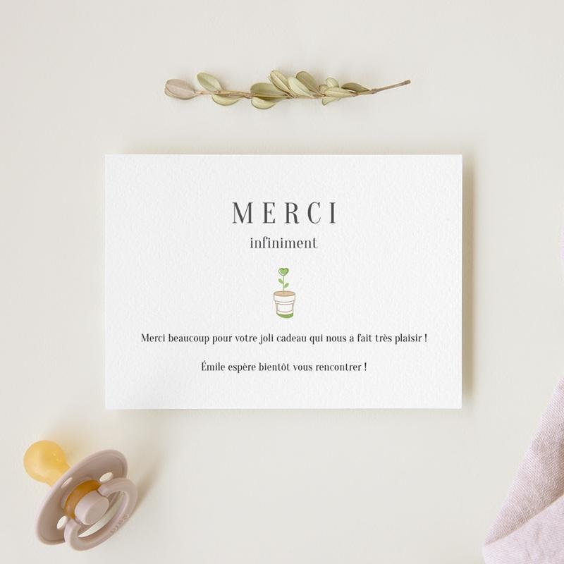 Carte de Remerciement Naissance Chou fleur & Photo