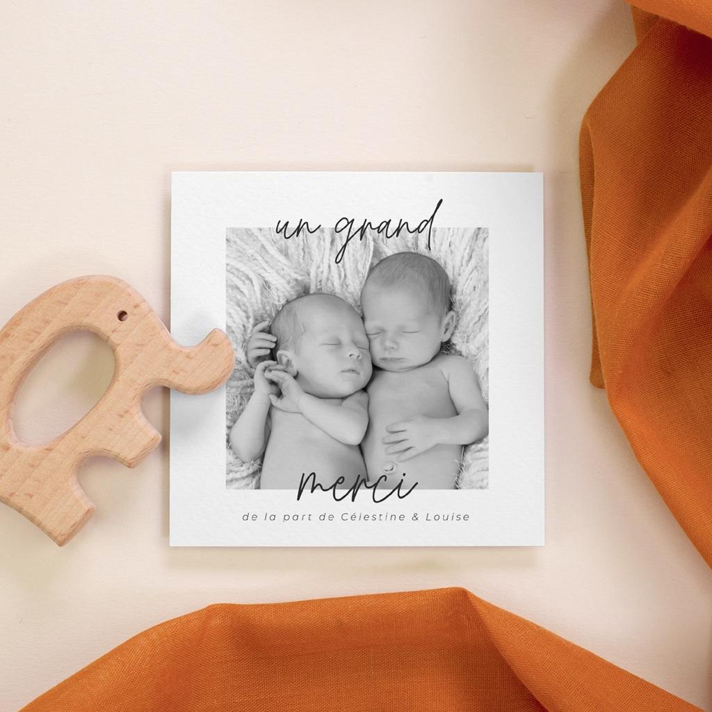 Carte de Remerciement Naissance Triptyque Jumeaux, Portrait