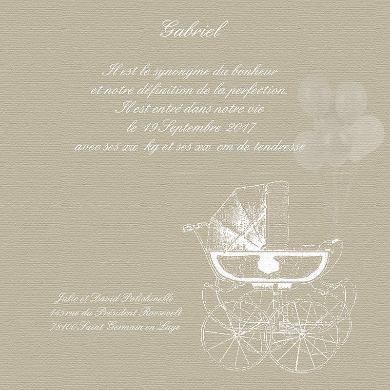 Faire-part de Naissance Petit Versailles beige pas cher