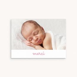 Carte de Remerciement Naissance Pictos photos rose, 14 cm x 10 cm