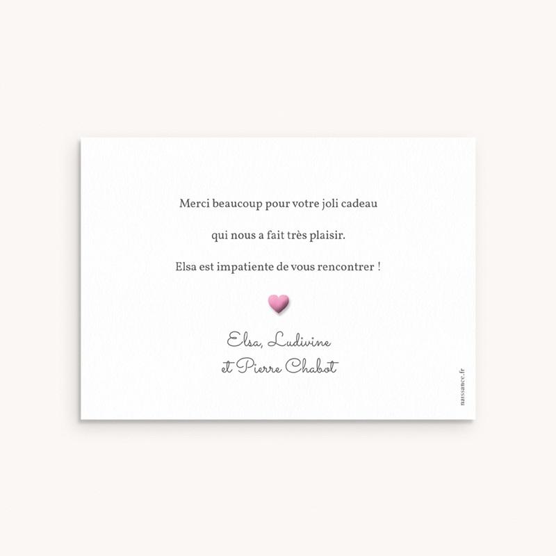 Carte de Remerciement Naissance Pictos photos rose, 14 cm x 10 cm pas cher