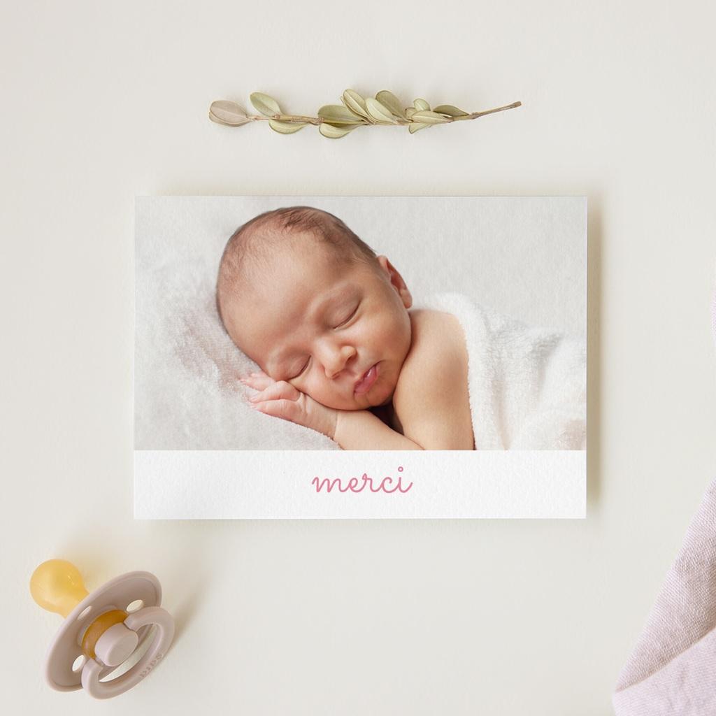 Carte de Remerciement Naissance Pictos photos rose, 14 cm x 10 cm gratuit