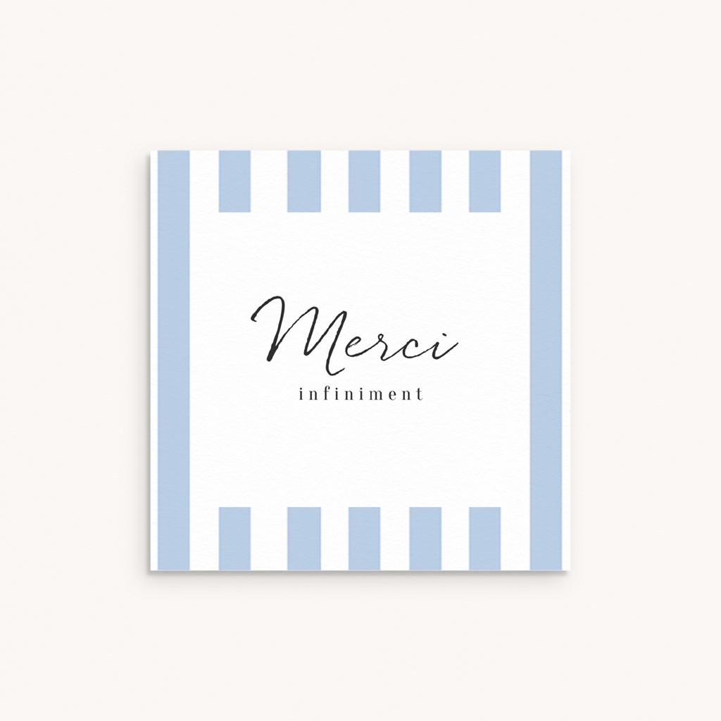 Carte de Remerciement Naissance Cosy bleu, 10 x 10 cm