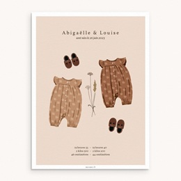 Affiche Déco Chambre Enfant Garde-robe jumelles, 30 x 40