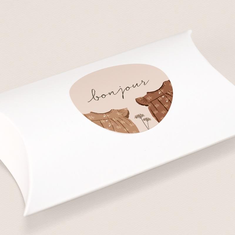 Sticker Enveloppe Naissance Garde-robe jumelles, 4,5 cm