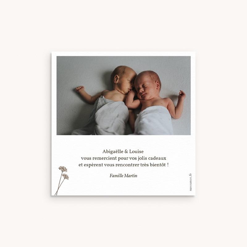 Nouveautés Carte de Remerciement Naissance Garde-robe jumelles, 10 x 10 pas cher