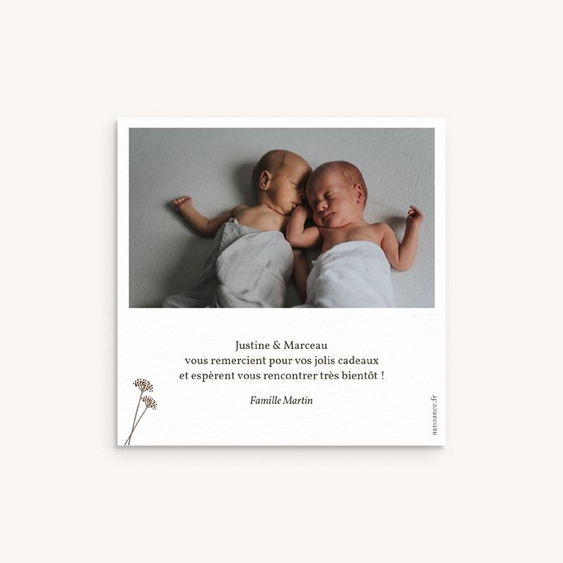 Carte de Remerciement Naissance Vestiaire Jumeaux fille & garçon pas cher