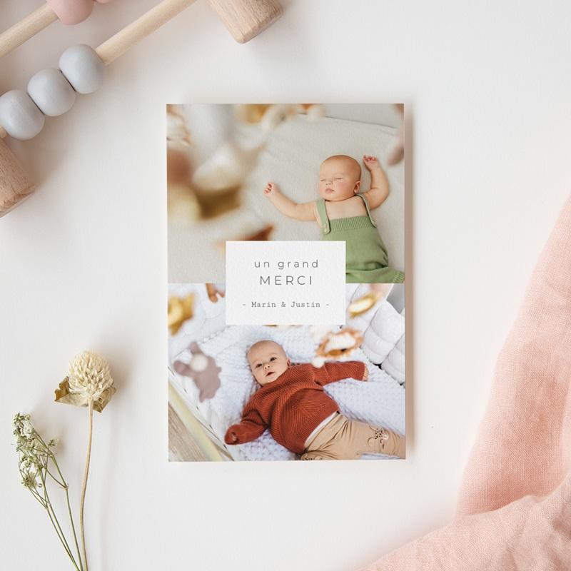 Carte de Remerciement Naissance Multiphotos Jumeaux, 10 x 15 cm gratuit