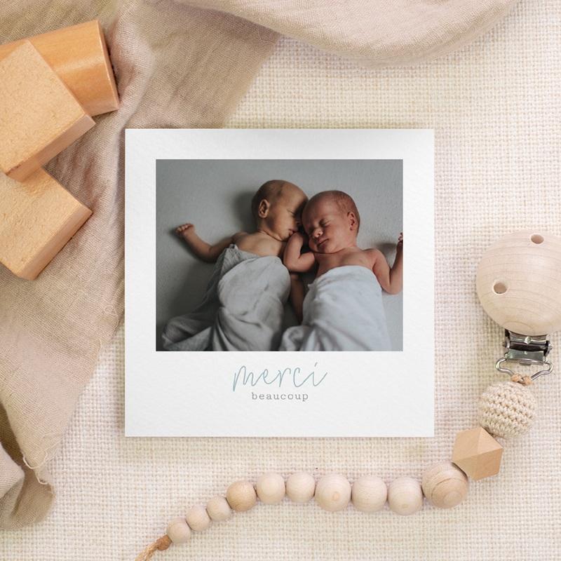 Carte de Remerciement Naissance Jumeaux 10 x 10 gratuit
